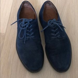 Blue suede tie shoes